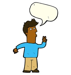 Cartoon man signalling with hand with speech vector