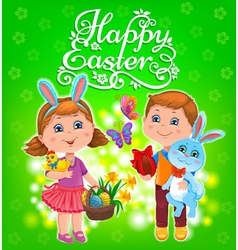 Happy easter kids vector