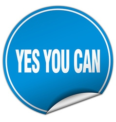 Yes you can round blue sticker isolated on white vector