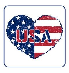 American flag heart grunge vector