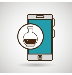 Smartphone blue lab tube isolated icon design vector