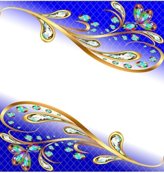background with precious stones gold pattern and f vector image vector image