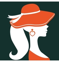 Beautiful elegant woman silhouette wearing a hat vector image