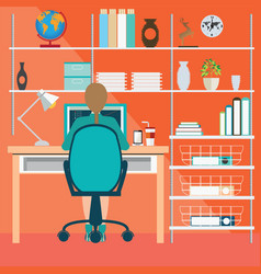 Business woman working in home office vector