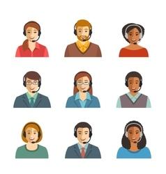 Call center agents flat avatars vector