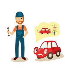 Cartoon car character and mechanic vector