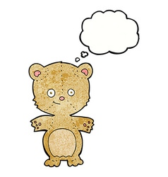 Cartoon happy teddy bear with thought bubble vector