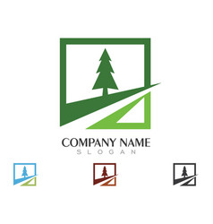Cedar tree logo template icon design vector