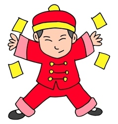 Chracter chinese with red clothes vector