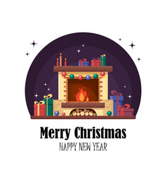 Christmas fireplace with gifts clock and candle vector