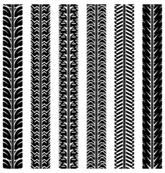 Collection tire tracks set of 6 pieces vector