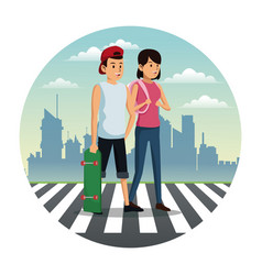 Couple crossing street city background vector