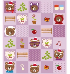 Cute bear christmas pattern vector