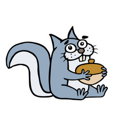 cute happy squirrel is hugging a large acorn vector image