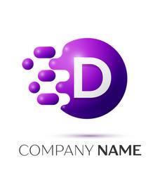 D letter splash logo purple dots circle bubble vector
