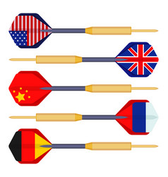 Dart arrows small missiles with flags of countries vector