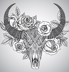 Decorative indian bull skull in tattoo tribal vector