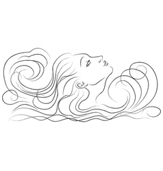 Girl in the waves vector
