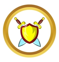 Gold shield icon cartoon style vector
