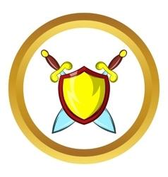 Gold shield icon cartoon style vector