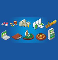isometric casino icons set vector image vector image
