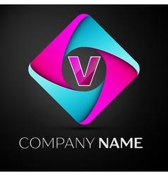 Letter v logo symbol in the colorful rhombus vector