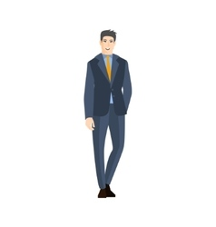 Man in classic suit with orange tie part of the vector
