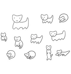 Minimal funny kittens coloring page vector