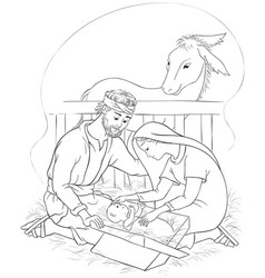 Nativity scene jesus mary joseph coloring page vector