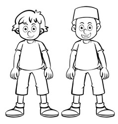 outline character for two boys vector image