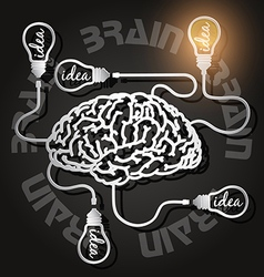 Paper cut of brain and light bulbs with usb cables vector