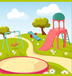 Recreation children park with play equipment vector