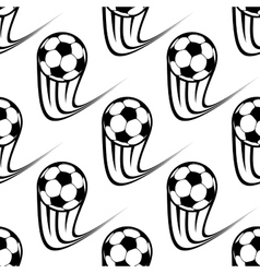 Seamless pattern of speeding soccer balls vector image