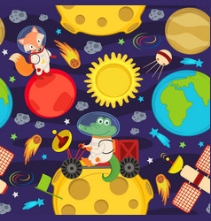 Seamless pattern with moon rover and animals vector