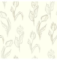 seamless wallpaper with tulips flowers vector image vector image