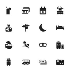 Set of 16 editable journey icons includes symbols vector