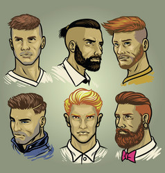 Set of mens hair styles collection vector
