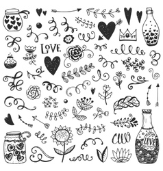 Set of vintage sketch elements vector image vector image