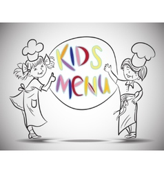 Sketch Boy and girls kids menu vector image vector image