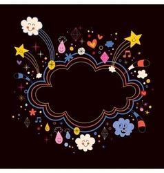 star bursts cartoon cloud shape banner frame vector image