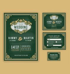 Vintage luxurious wedding invitation vector