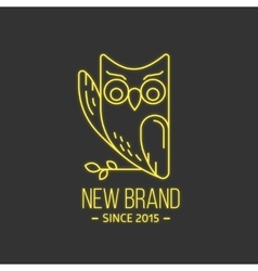 Vintage owl logo in thin line style vector image
