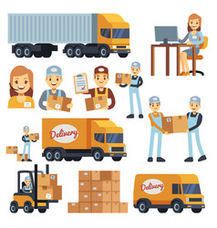 Warehouse workers cartoon characters - vector
