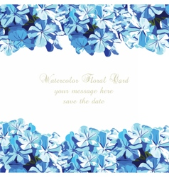 Watercolor blue flowers card vector