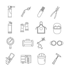 welding icons set outline style vector image