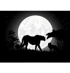 Cheetah silhouettes with giant moon background vector