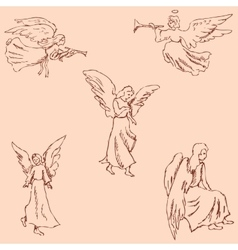 The Angels Pencil sketch by hand Vintage colors vector image