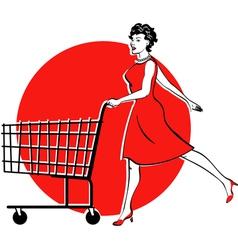 Shopping cart checkout girl vector image
