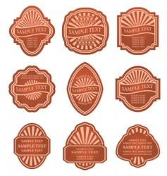 set of old brown labels vector image