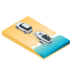 the suv lowers the motor boat into the sea the vector image